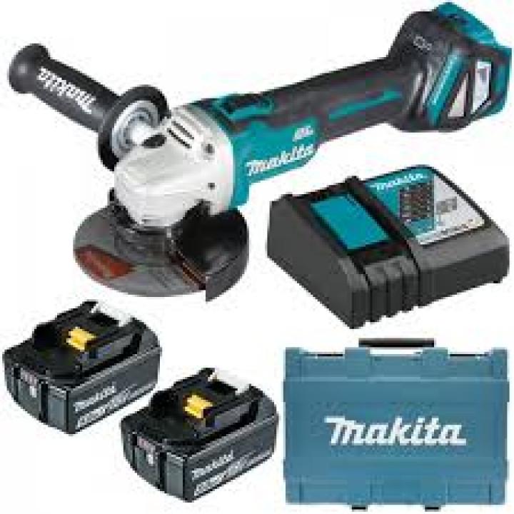 Болгарка аккумуляторная бесщеточная Makita DGA511RTE с 2 аккумуляторами, ЗУ и кейсом