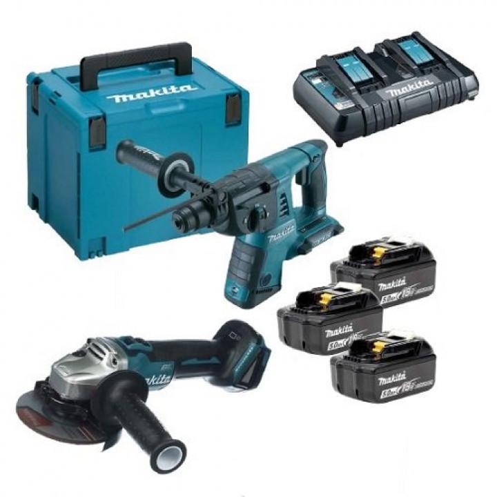 Набор инструментов Makita DLXMUA263 с 3 аккумуляторами, ЗУ и кейсом MakPac