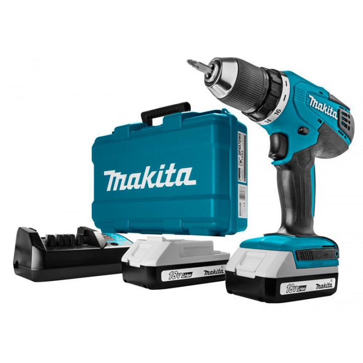 Шуруповерт аккумуляторный Makita DF457DWE с 2 аккумуляторами, ЗУ и кейсом
