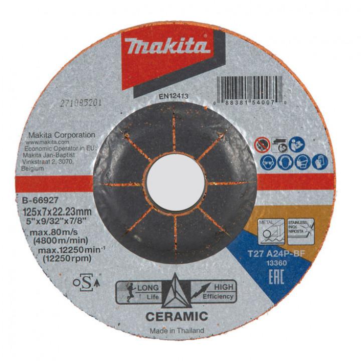 Диск зачисной с керамическим зерном Makita 125x7x22 мм (B-66927)