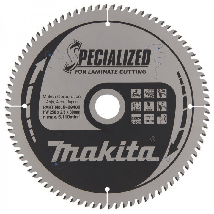 Диск пильный Makita SPECIALIZED для ламината 250х30 мм 84T (B-29480)