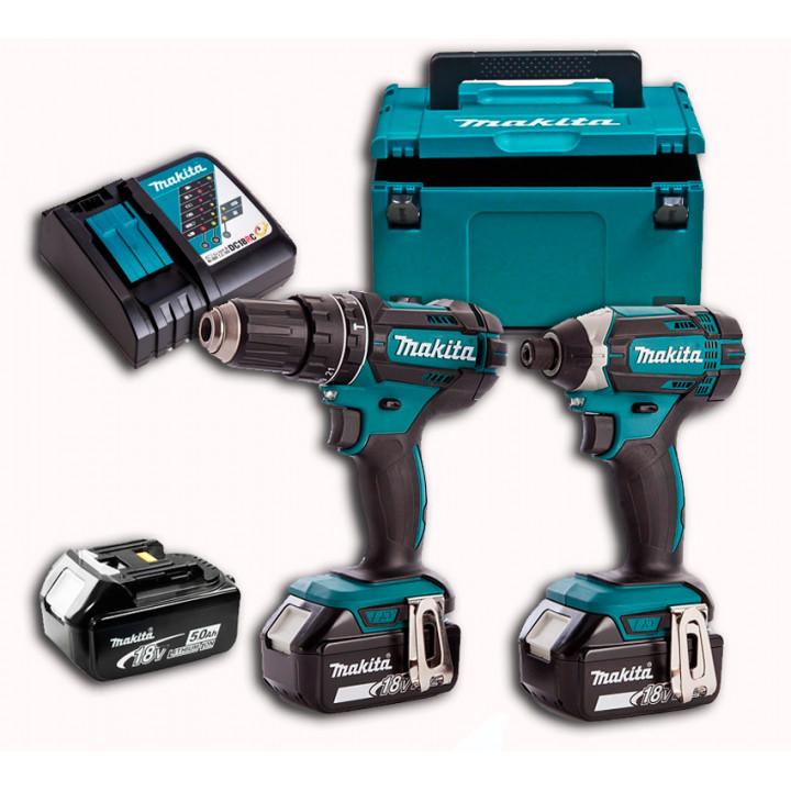 Набор аккумуляторных инструментов Makita DLX2127TJ1 с 3 аккумуляторами, ЗУ и MakPac