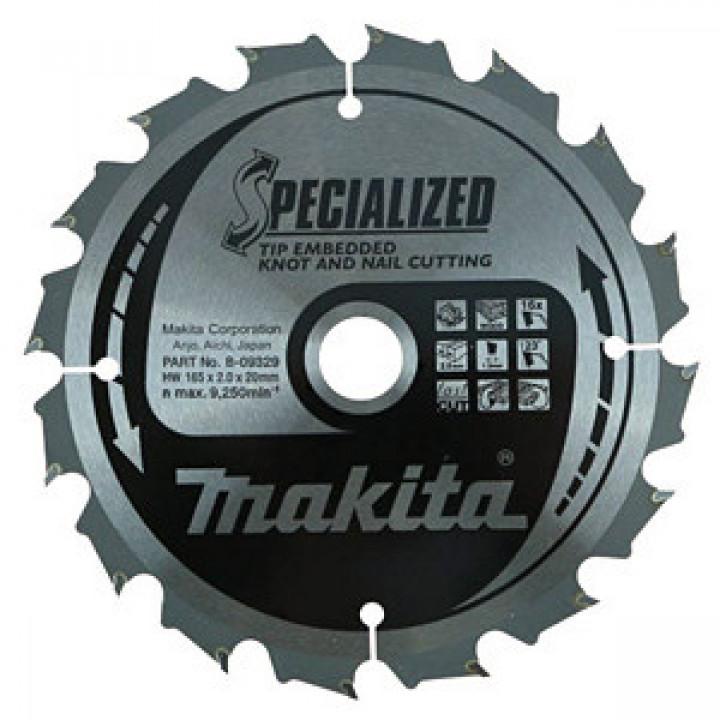 Диск пильный Makita по древесине с гвоздями SPECIALIZED 185х15,88 мм 16 зубьев (B-09335)