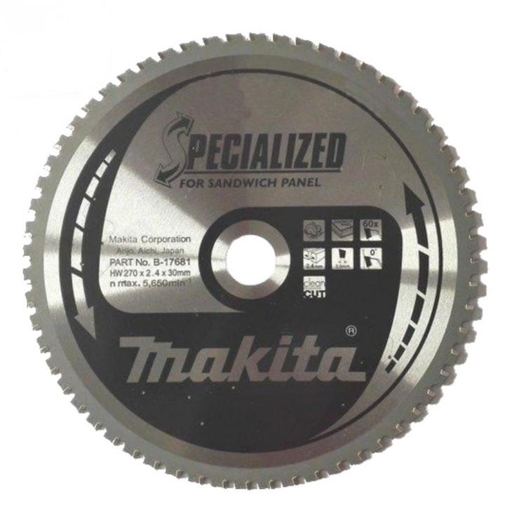Диск пильный по сэндвич-панелям Makita SPECIALIZED 270х30 мм 60Т (B-17681)